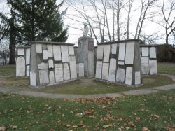 mounted collection of pioneer grave stones